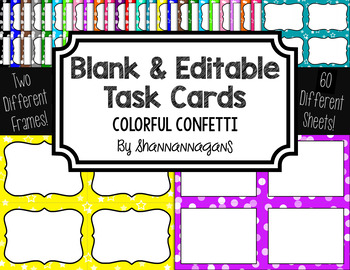 Blank Task Cards: Confetti - Colorful Backgrounds | Editable PowerPoint