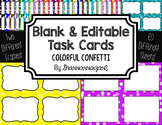 Blank Task Cards: Confetti - Colorful Backgrounds | Editab