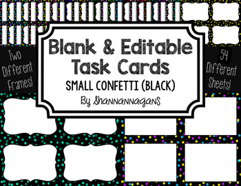 Blank Task Cards: Confetti Small - Black Background | Editable PowerPoint