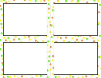 Blank Task Cards: Confetti Small - White Background | Editable PowerPoint