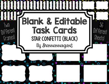 Blank Task Cards: Confetti (Stars) - Black Background | Editable PowerPoint