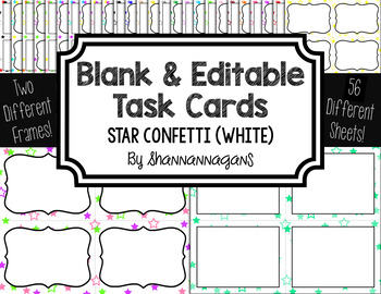 Blank Task Cards: Confetti (Stars) - White Background   Editable PowerPoint