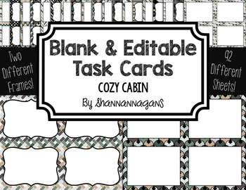 Blank Task Cards: Cozy Cabin (300dpi) | Editable PowerPoint