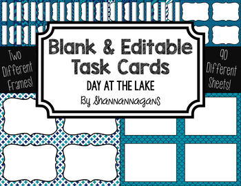 Blank Task Cards: Day at the Lake | Editable PowerPoint