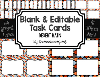 Blank Task Cards: Desert Rain | Editable PowerPoint