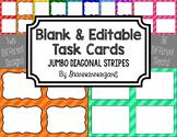Blank Task Cards - Basics: Jumbo Diagonal Stripes | Editable PowerPoint