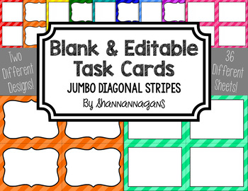 Diagonal Stripes Blank Task Cards (Basic Colors)