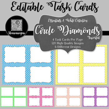 Blank Task Cards - Essentials & White: Circle Diamonds (Inverted)