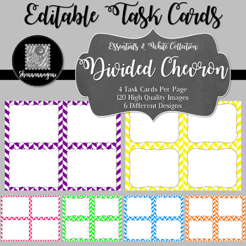 Blank Task Cards - Essentials & White:  Divided Chevron
