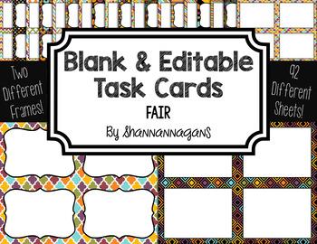 Blank Task Cards: Fair | Editable PowerPoint