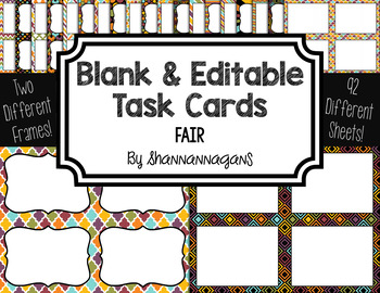 Blank Task Cards: Fair   Editable PowerPoint