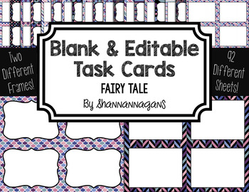 Blank Task Cards: Fairy Tale Collection (300dpi) | Editable PowerPoint