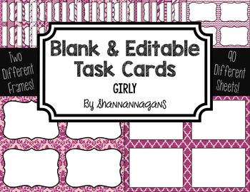 Blank Task Cards: Girly   Editable PowerPoint