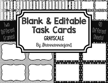 Blank Task Cards-Color Scheme: Grayscale (300dpi) with Editable PowerPoint