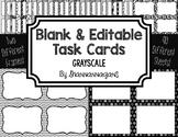 Blank Task Cards: Grayscale | Editable PowerPoint