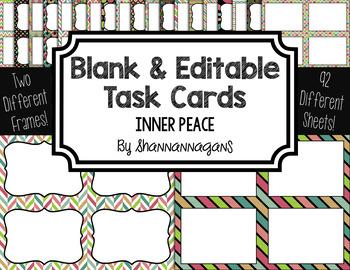 Blank Task Cards: Inner Peace   Editable PowerPoint