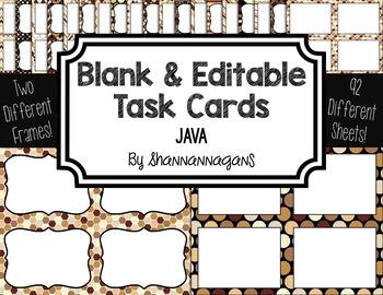 Blank Task Cards: Java | Editable PowerPoint