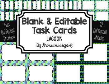 Blank Task Cards: Lagoon | Editable PowerPoint