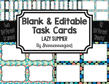 Blank Task Cards: Lazy Summer | Editable PowerPoint