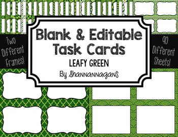 Blank Task Cards: Leafy Green Collection (300dpi) | Editable PowerPoint