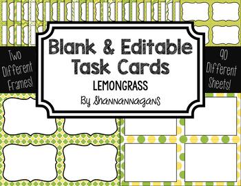 Blank Task Cards: Lemongrass | Editable PowerPoint