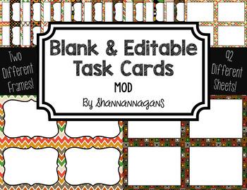 Blank Task Cards: Mod Collection (300dpi) | Editable PowerPoint