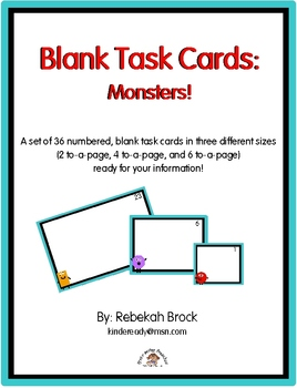 Blank Task Cards:  Monsters!  36 Numbered, Blank Task Cards Ready for You!