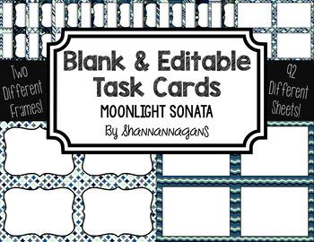 Blank Task Cards: Moonlight Sonata Collection (300dpi) | Editable PowerPoint