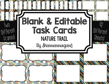 Blank Task Cards: Nature Trail | Editable PowerPoint
