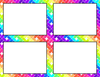 Blank Task Cards: Neon Rainbow | Editable PowerPoint
