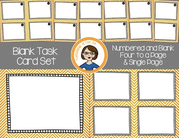 Blank Task Cards - Numbered and Empty - Orange Chevron