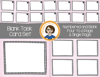 Blank Task Cards - Numbered and Empty - Pink Chevron