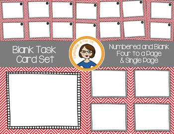Blank Task Cards - Numbered and Empty - Red Chevron