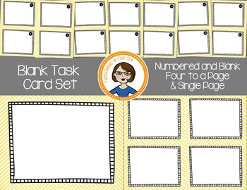 Blank Task Cards - Numbered and Empty - Yellow Chevron
