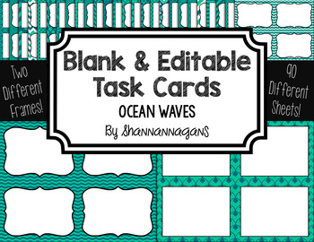 Blank Task Cards: Ocean Waves Collection (300dpi) | Editable PowerPoint