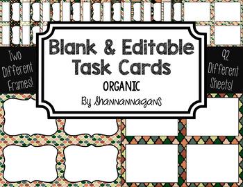 Blank Task Cards: Organic   Editable PowerPoint