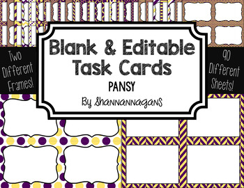 Blank Task Cards: Pansy Collection (300dpi) | Editable PowerPoint