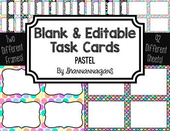 Blank Task Cards-Rainbow: Pastels (300dpi) with Editable P
