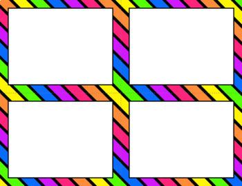 Blank Task Cards: Bright Rainbow | Editable PowerPoint