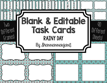 Blank Task Cards: Rainy Day Collection (300dpi) | Editable PowerPoint