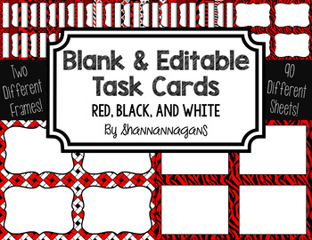 Blank Task Cards: Red, Black, & White Collection (300dpi) | Editable PowerPoint