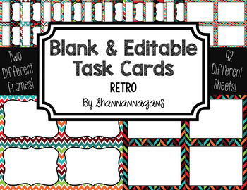 Blank Task Cards: Retro Collection (300dpi) | Editable PowerPoint