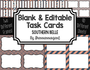 Blank Task Cards: Southern Belle Collection (300dpi) | Editable PowerPoint