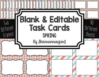 Blank Task Cards: Spring | Editable PowerPoint