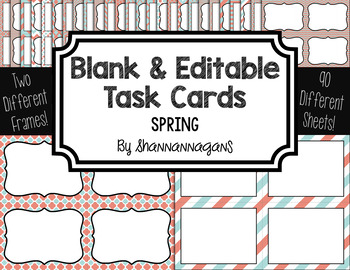 Blank Task Cards-Color Scheme: Spring (300dpi) with Editab