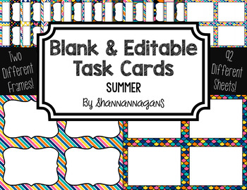 Blank Task Cards: Summer | Editable PowerPoint