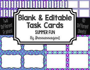 Blank Task Cards: Summer Fun | Editable PowerPoint