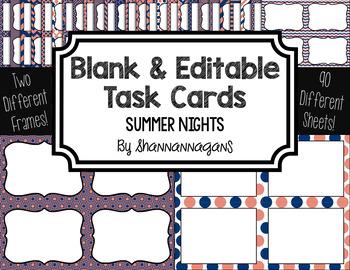 Blank Task Cards: Summer Nights | Editable PowerPoint