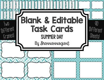 Blank Task Cards: Summer Sky Collection (300dpi) | Editable PowerPoint