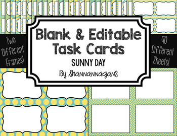 Blank Task Cards: Sunny Day Collection (300dpi) | Editable PowerPoint